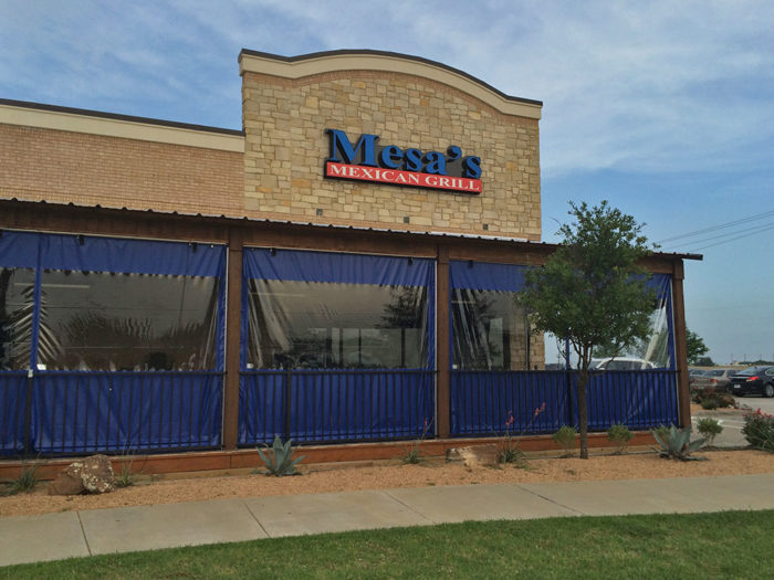 clear vinyl patio enclosures outside mesas mexican grill customized blue panels