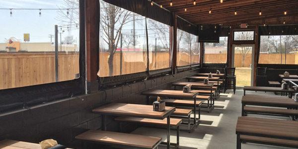 retractable commercial patio screens enclosures restaurant outdoor dining
