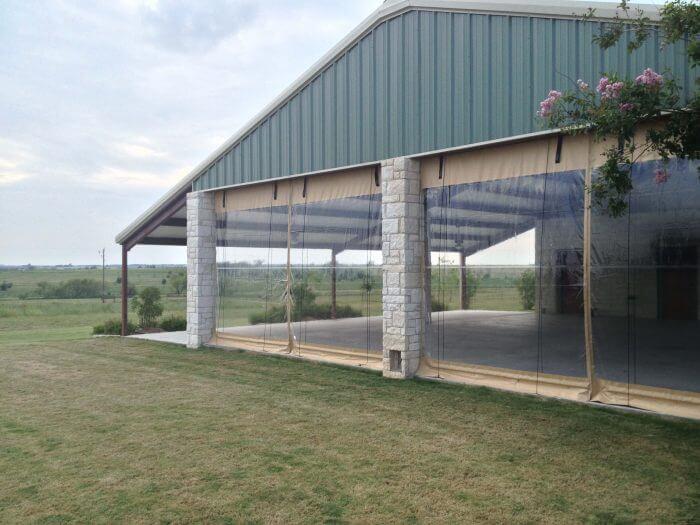 commercial retractable patio screens wedding venue vineyard windscreens
