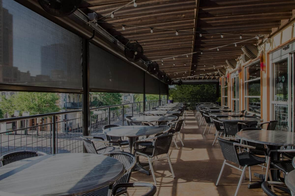 restaurant patio motorized sun shades