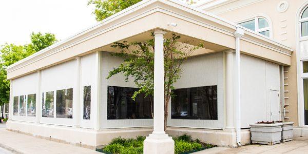 motorized sun shades beige white clear vinyl windows glorias garland texas