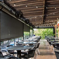 restaurant patio sun sahdes half lowered commercial strength shades
