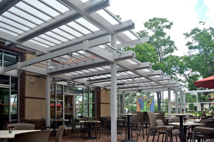 white fixed roof outside restaurant patio climate control commercial product