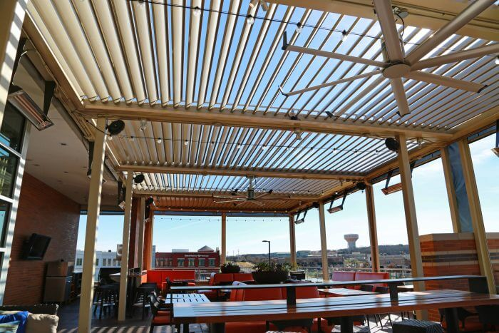 louvered roof system del frisco texas restaurant 160 degrees louvers outdoor patio sunset