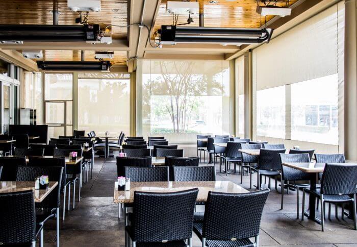 glorias restaurant motorized enclosures beige curtains clear vinyl patio