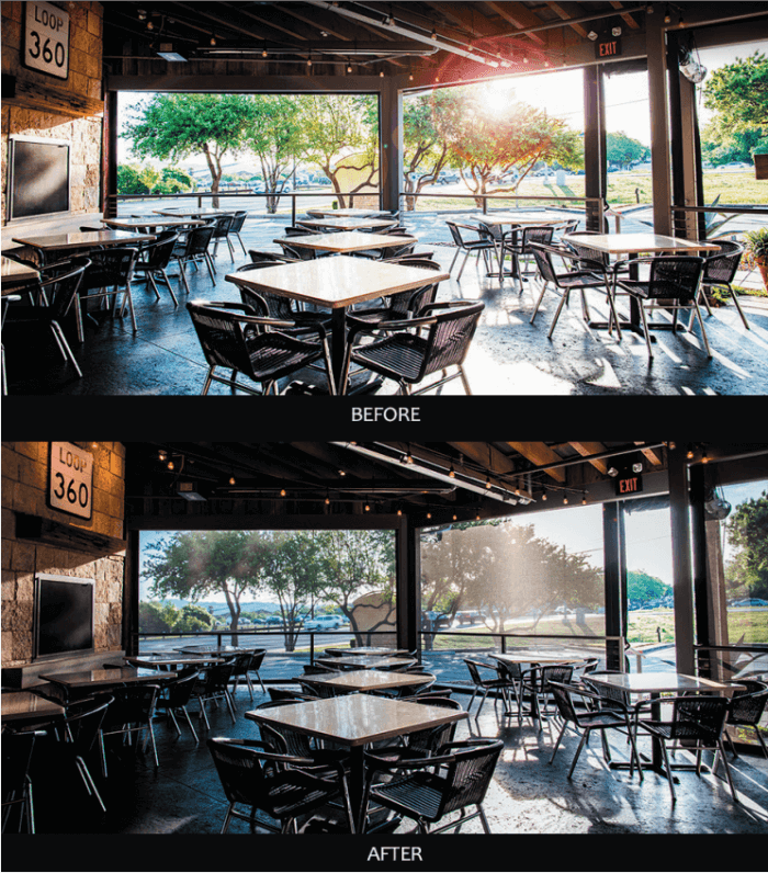 austin restaurant patio sun shades before and after results