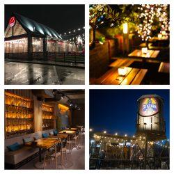 nightime outdoor restaurant patios lit up