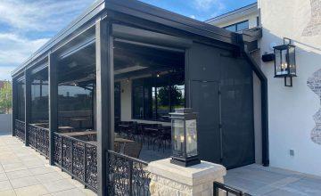 seven doors restaurant patio sun shades